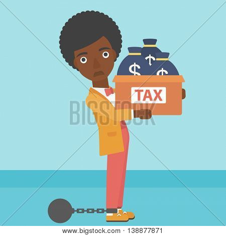 Chained to a large ball an african-american business woman carrying heavy box with bags full of taxes. Vector flat design illustration. Square layout.
