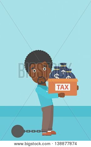 Chained to a large ball an african-american businessman carrying heavy box with bags full of taxes. Vector flat design illustration. Vertical layout.