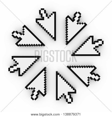 Circle Of Pixelated Arrow Cursor Computer Pointers 3D Illustration