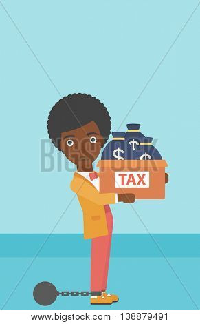 Chained to a large ball an african-american business woman carrying heavy box with bags full of taxes. Vector flat design illustration. Vertical layout.