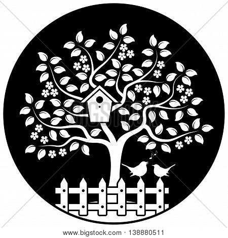 vector flowering tree with nesting bird box and picket fence with couple of birds isolated on black round