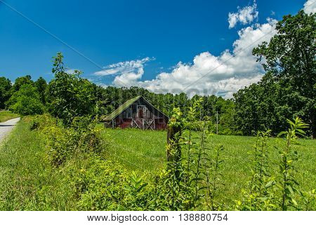 A view of an old barn in the foothills of the Blue Ridge Mountains in Floyd County Virginia