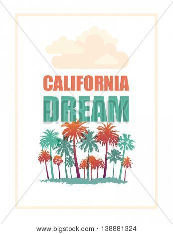 Exotic Travel Background with Palms isolated on white. California Dream Banner.
