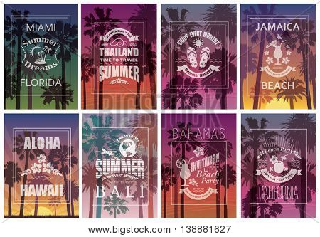 Exotic Travel Backgrounds with Palm Trees. Set of  Nature Banners and Prints.