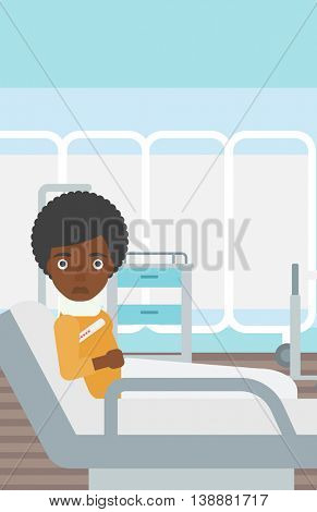 An african-american woman with neck brace lying in bed in hospital ward and suffering from pain. Vector flat design illustration. Vertical layout.