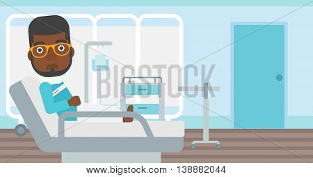 An african-american man with neck brace lying in bed in hospital ward and suffering from pain. Vector flat design illustration. Horizontal layout.