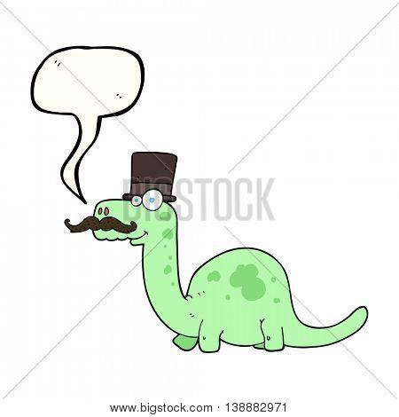 freehand drawn speech bubble cartoon posh dinosaur