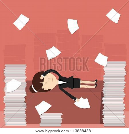 Business situation. Business woman tired of hard work. Vector illustration.