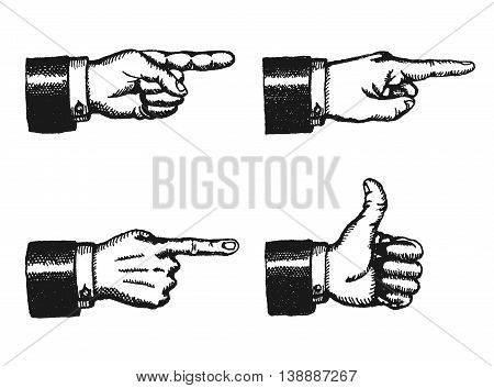 Illustration of a sketched set of businessman black hands with index finger pointing and giving a thumbs up isolated on white