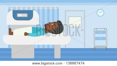 An african-american young man with the beard undergoes an open magnetic resonance imaging scan procedure in hospital rooom. Vector flat design illustration. Horizontal layout.