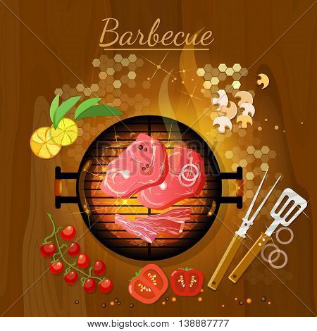 Bbq grill party grilled meat live coals gridiron top view vector illustration