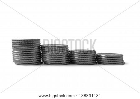 stacks of silver coins isolated onwhite background savings salary taxes payment