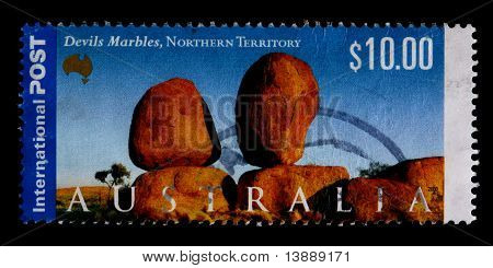Australia - Circa 2000: A $10.00 Stamp Printed In Australia Shows The Devils Marbles, Northern Terri