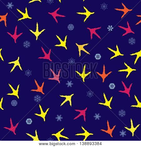 seamless New Year 2017 background with rooster tracks and snowflakes
