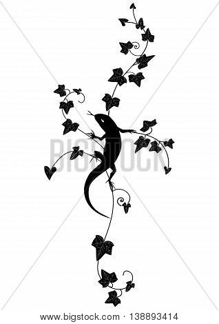 vector vignette with lizard and ivy in black and white color