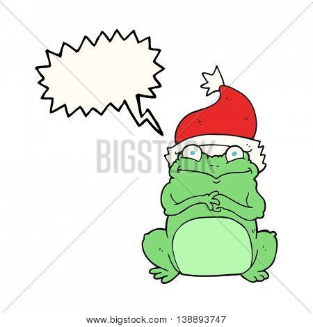 freehand drawn speech bubble cartoon frog wearing christmas hat