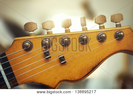 Guitar neck closeup