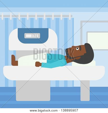 An african-american young man with the beard undergoes an open magnetic resonance imaging scan procedure in hospital rooom. Vector flat design illustration. Square layout.