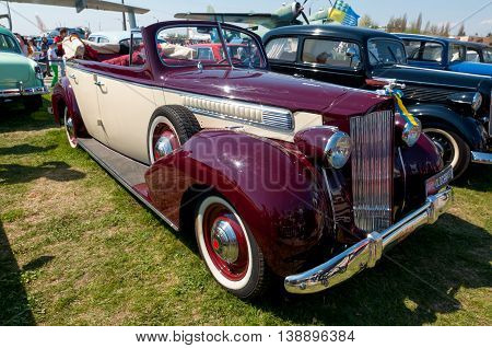 Kyiv Ukraine - April 26 2015: 1939 Packard One-Twenty is on display at the festival
