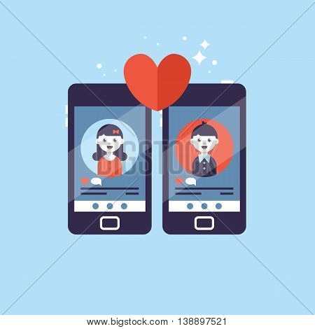 Online dating app concept with man and woman. Vector illustration