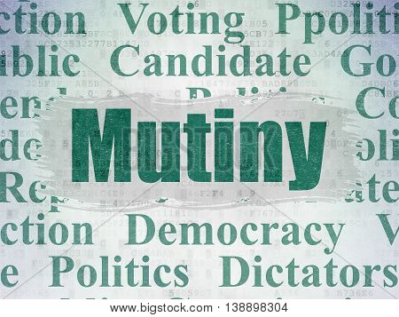 Political concept: Painted green text Mutiny on Digital Data Paper background with   Tag Cloud