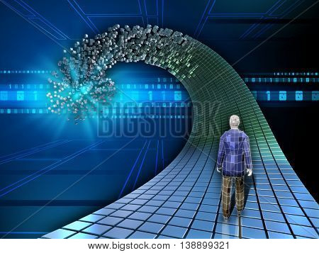 Man walking on a data path. 3D illustration.