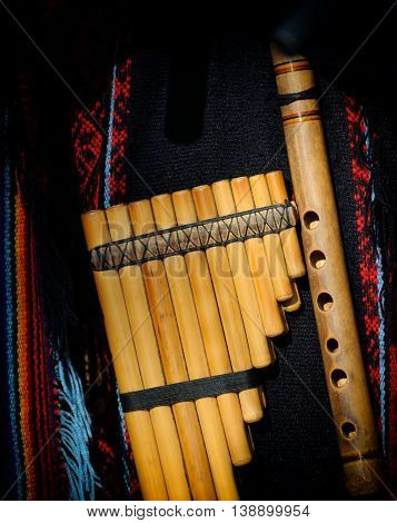 Peruvian pan flute or pipe close up poster