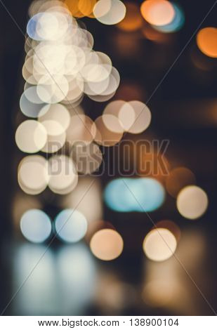 Abstract Vintage Image Of Bokeh Lights In The City.