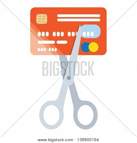 Scissors cutting credit card icon. Reduce cost concept. Flat design