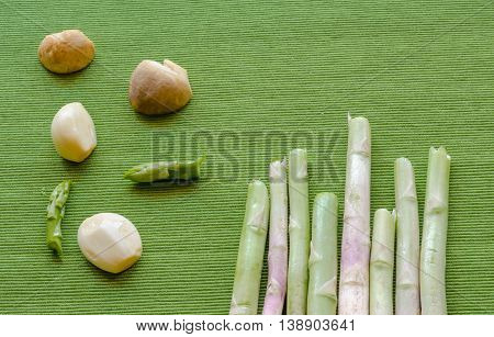 Abstract Design Background Vegetables On Green Background
