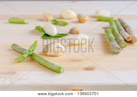 Abstract Design Background Vegetables On A Wooden Background, Vintage Tone
