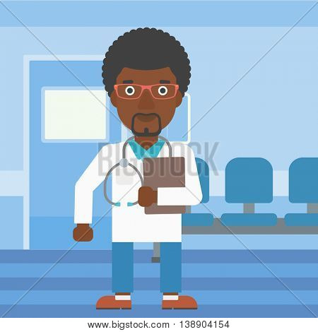 An african-american friendly doctor with stetoscope standing in hospital corridor and carrying folder of patient or medical information. Vector flat design illustration. Square layout.