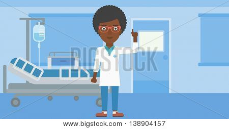 An african-american female doctor in medical gown showing finger up while standing on the background of hospital ward. Vector flat design illustration. Horizontal layout.