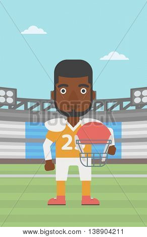 An african-american rugby player with the beard holding ball and helmet in hands. Male rugby player in uniform standing on rugby stadium. Vector flat design illustration. Vertical layout.