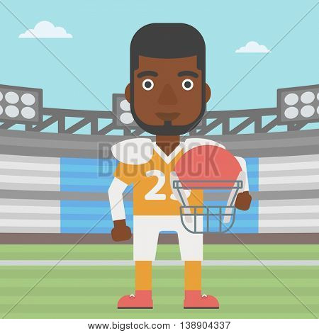 An african-american rugby player with the beard holding ball and helmet in hands. Male rugby player in uniform standing on rugby stadium. Vector flat design illustration. Square layout.
