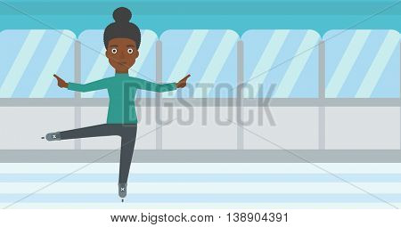 An african-american female figure skater performing on indoor ice skating rink. Young female figure skater dancing. Vector flat design illustration. Horizontal layout.