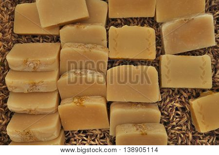 Natural robust hand made brown herb soaps.