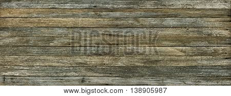 panoramic grunge background of old wood boards toned effect