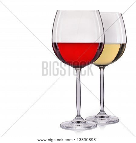 Set of red and white wine in a glass isolated on white background.