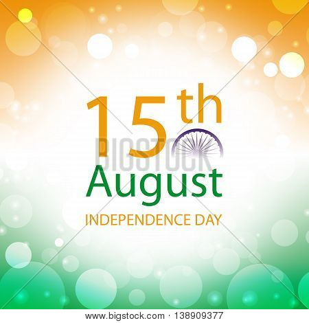 Independence Day India 15th August banner in abstract colors of the Indian flag, vector illustration