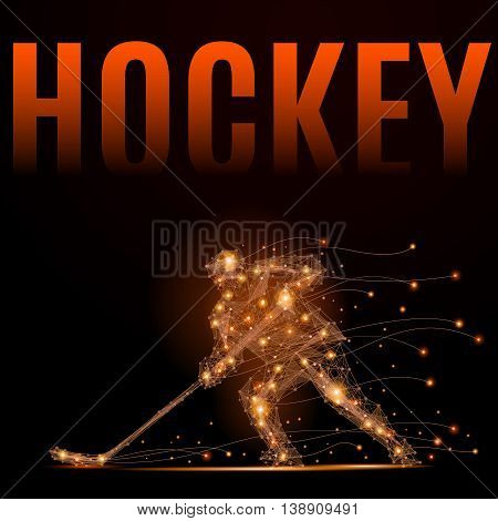 Hockey player slides on the ice with a stick. Geometric illustration. Abstract polygonal wireframe mesh - stock vector