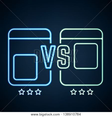 Versus Screen Design with Stars. Blue Neon and Green Neon VS Letters. Vector illustration