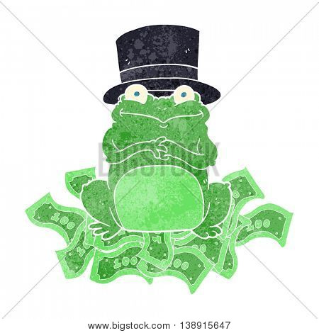 freehand retro cartoon rich frog in top hat