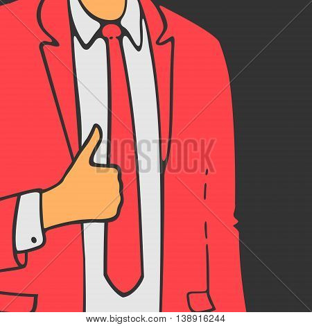 The Man in Suit Shows Hand Like