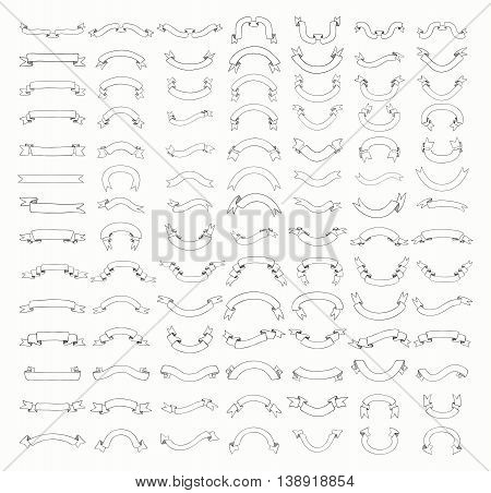 Big Set of 100 Hand Drawn Black Outlined Doodle Sketched Rustic Decorative Banners and Ribbons. Ribbons Variation. Vintage Vector Illustration.
