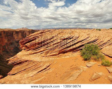 Wild Utah desert landscape. Sandstone sediment formation. USA
