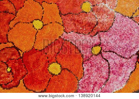 Floral mosaic. Abstract mosaic. Mosaic design. Mosaic style. Red flowers. Art. Floral design. Floral style.