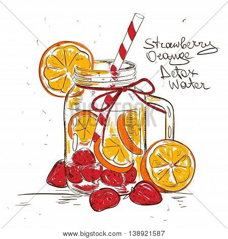 Hand drawn sketch illustration with Strawberry Orange detox water. Healthy lifestyle concept.