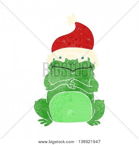 freehand retro cartoon frog wearing christmas hat