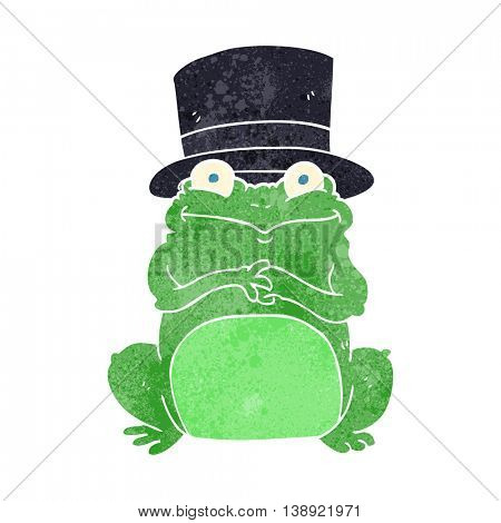 freehand retro cartoon frog in top hat